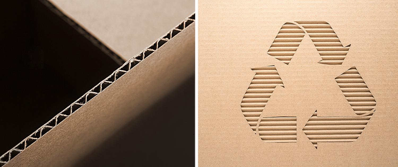 Kante aus Wellpappe und Recyclingsymbol