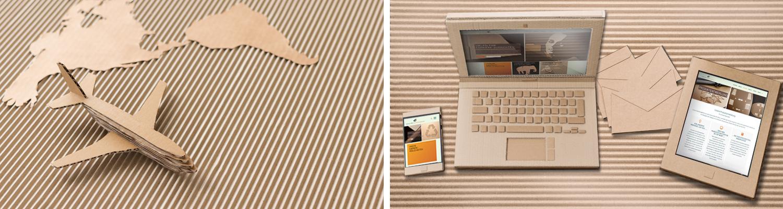 Flugzeug, Weltkarte, Laptop, Handy und Tablet aus Wellpappe